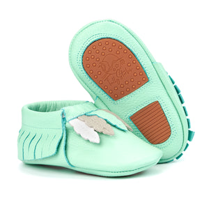 Mint Bird Baby Moccasins
