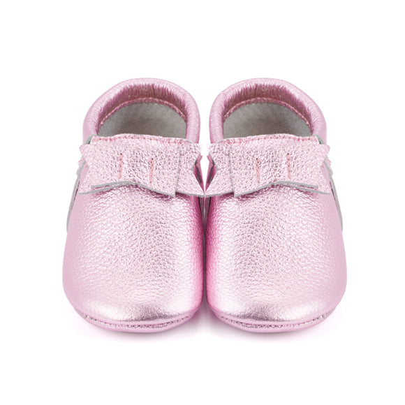 Shiny Pink Baby Moccasins