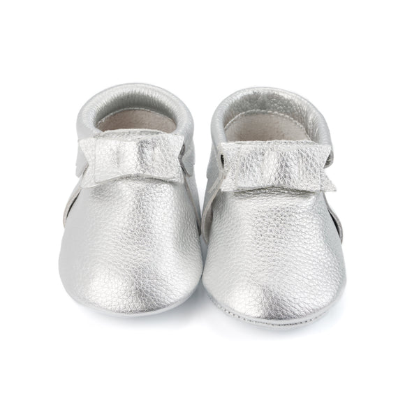 Shiny Silver Baby Moccasins