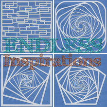 Load image into Gallery viewer, Endless Inspirations Original Stencils, 6 x 6 inch, All The Stairs Bundle 1, 4 Pack - Spiral Staircase 1 & 2, Rounded Staircase, & Broken Stairs - Redbird Inspirations