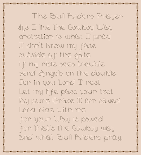 Endless Inspirations Original Cross Stitch Pattern, Bull Rider's Prayer - Redbird Inspirations
