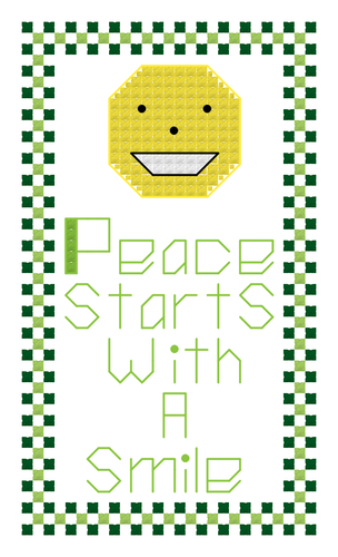 Endless Inspirations Original Cross Stitch Pattern, Peace Starts With A Smile - Redbird Inspirations