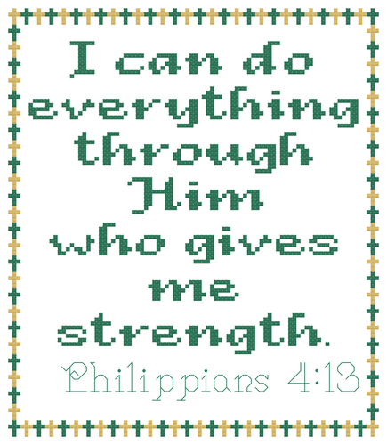 Endless Inspirations Original Cross Stitch Pattern, Philippians 4:13 - Redbird Inspirations
