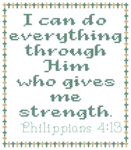 Load image into Gallery viewer, Endless Inspirations Original Cross Stitch Pattern, Philippians 4:13 - Redbird Inspirations