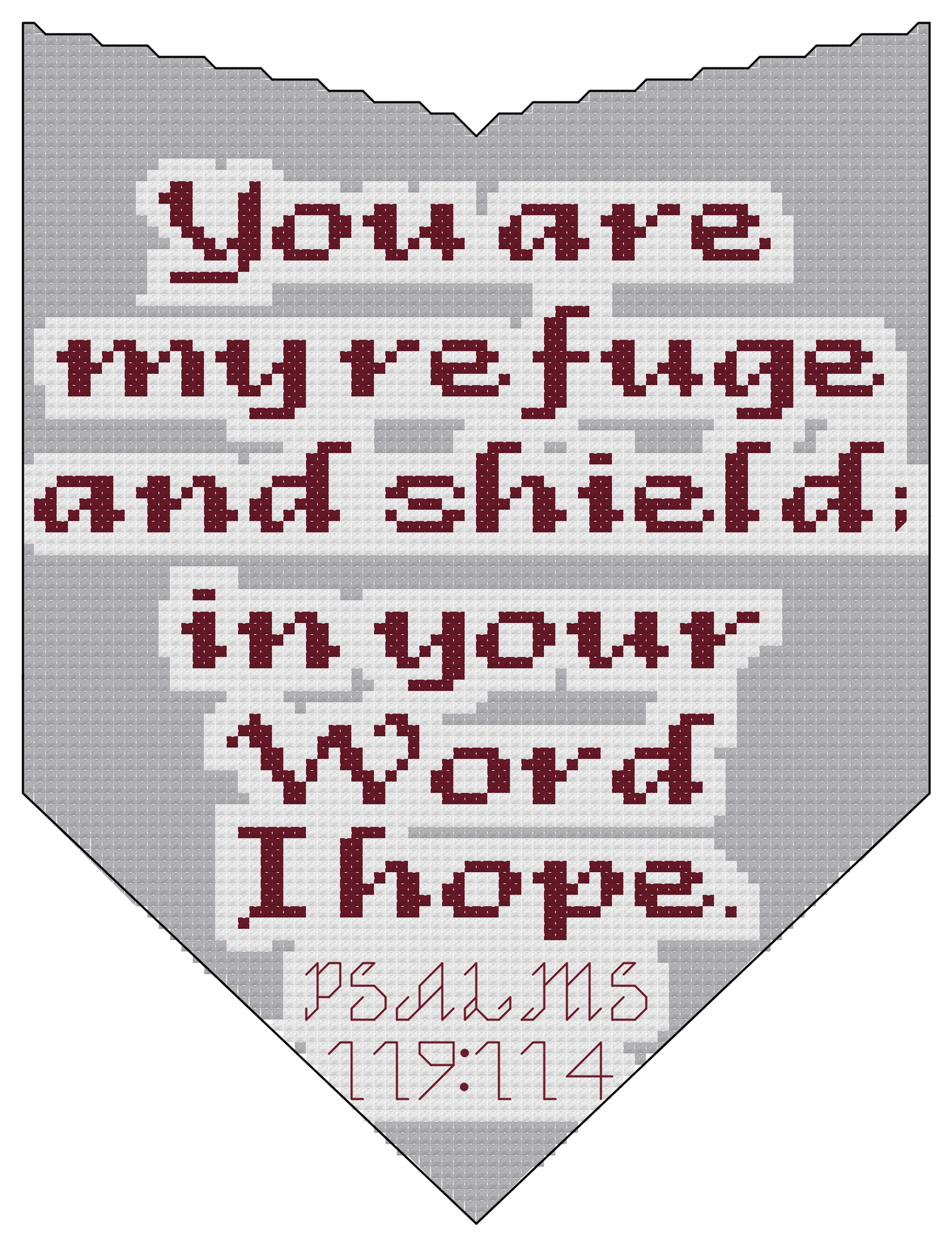 Endless Inspirations Original Cross Stitch Pattern, Psalms 119:114 - Redbird Inspirations