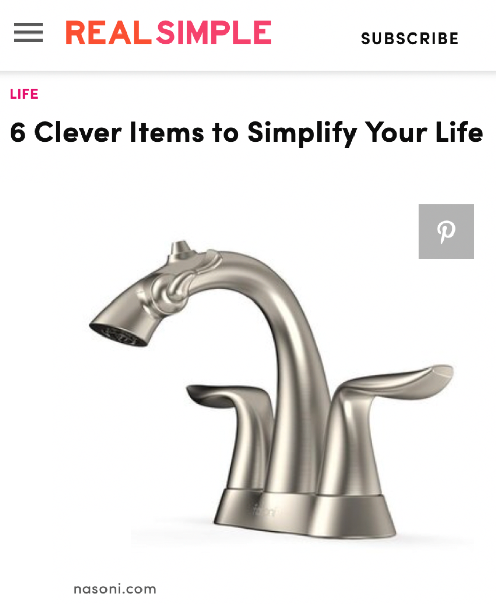 REALSIMPLE Promotes Nasoni Fountain Faucets