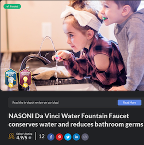 The GadgetFlow Awards Nasoni's Fountain Faucets Editor's Pick and Innovation Awards, and Editors Rating of 4.9/5