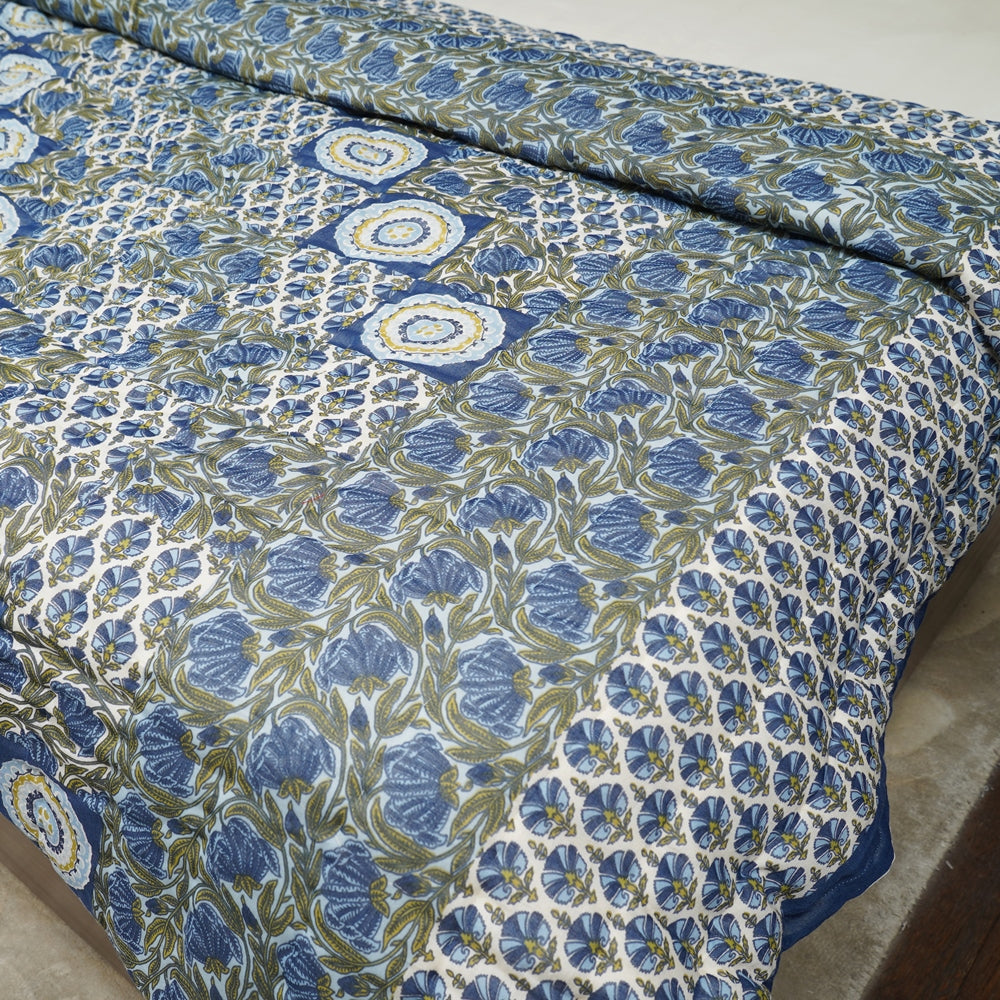 Cotton Quilts - Mughal Jaipur Blue Geometric Pattern