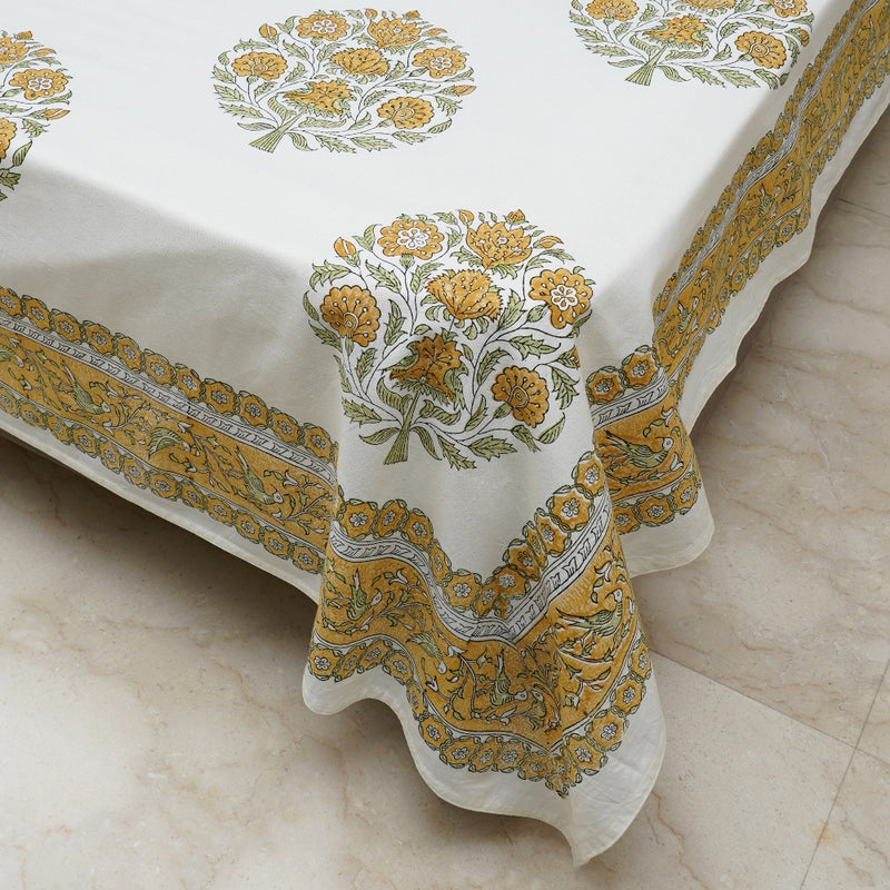 Cotton Bed Sheet - Rambagh Collection Yellow Dancing Birds Border