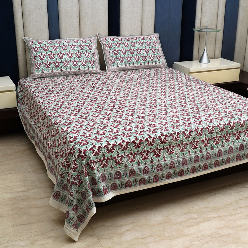 Cotton Bed Sheet - Red & Turquiose Jharokha Border