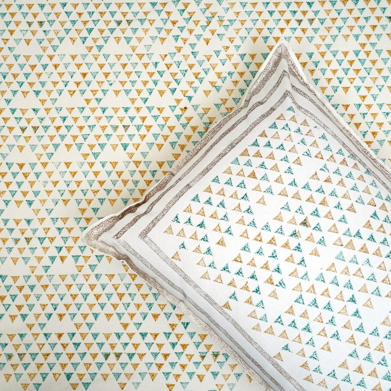 Cotton Bed Sheet - Premium White Collection Green Triangles