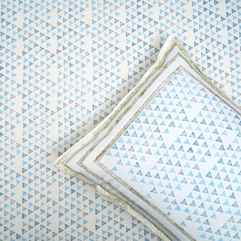 Cotton Bed Sheet - Premium White Collection Blue Triangles
