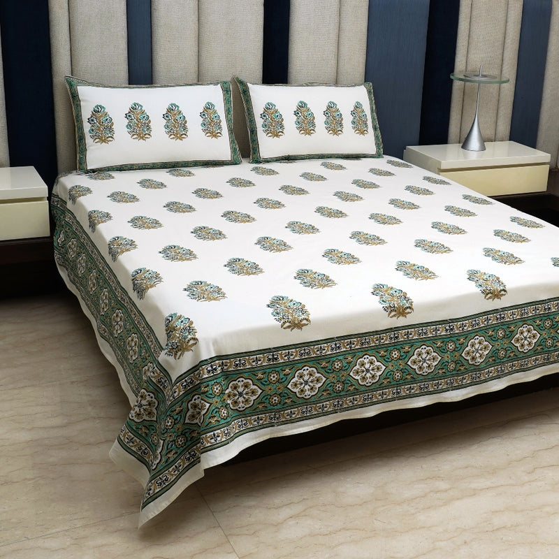 Cotton Bed Sheet - Rambagh Collection Green & Beige Border