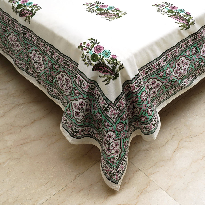 King Size Cotton Hand Block Bed Sheet - Floral Motif Pink & Green Border