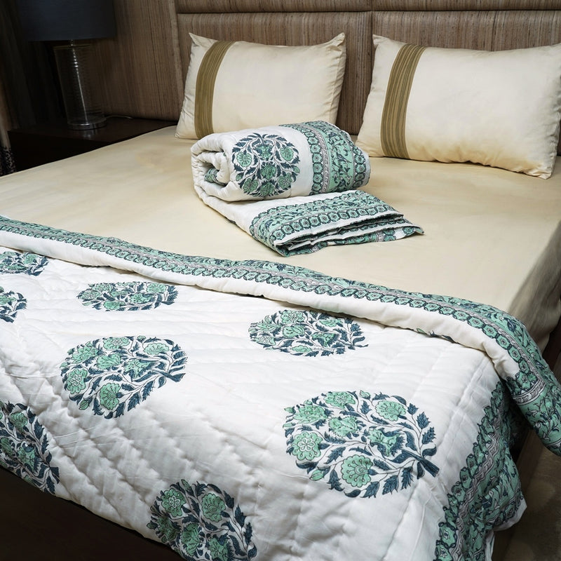 Cotton Quilt - Rambagh Collection Pastel Green Dancing Birds Border