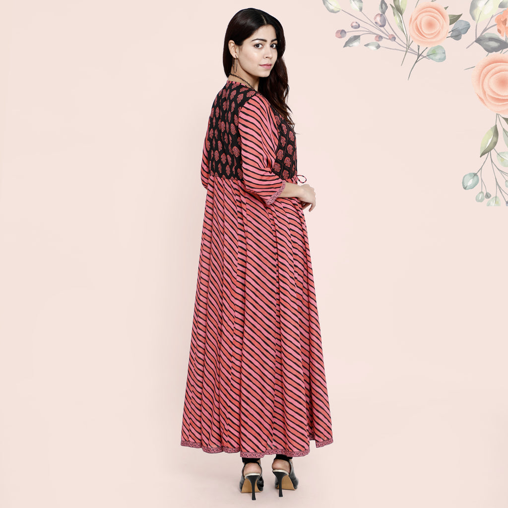 Cotton Anarkali Dori - Pink & Black Lehariya