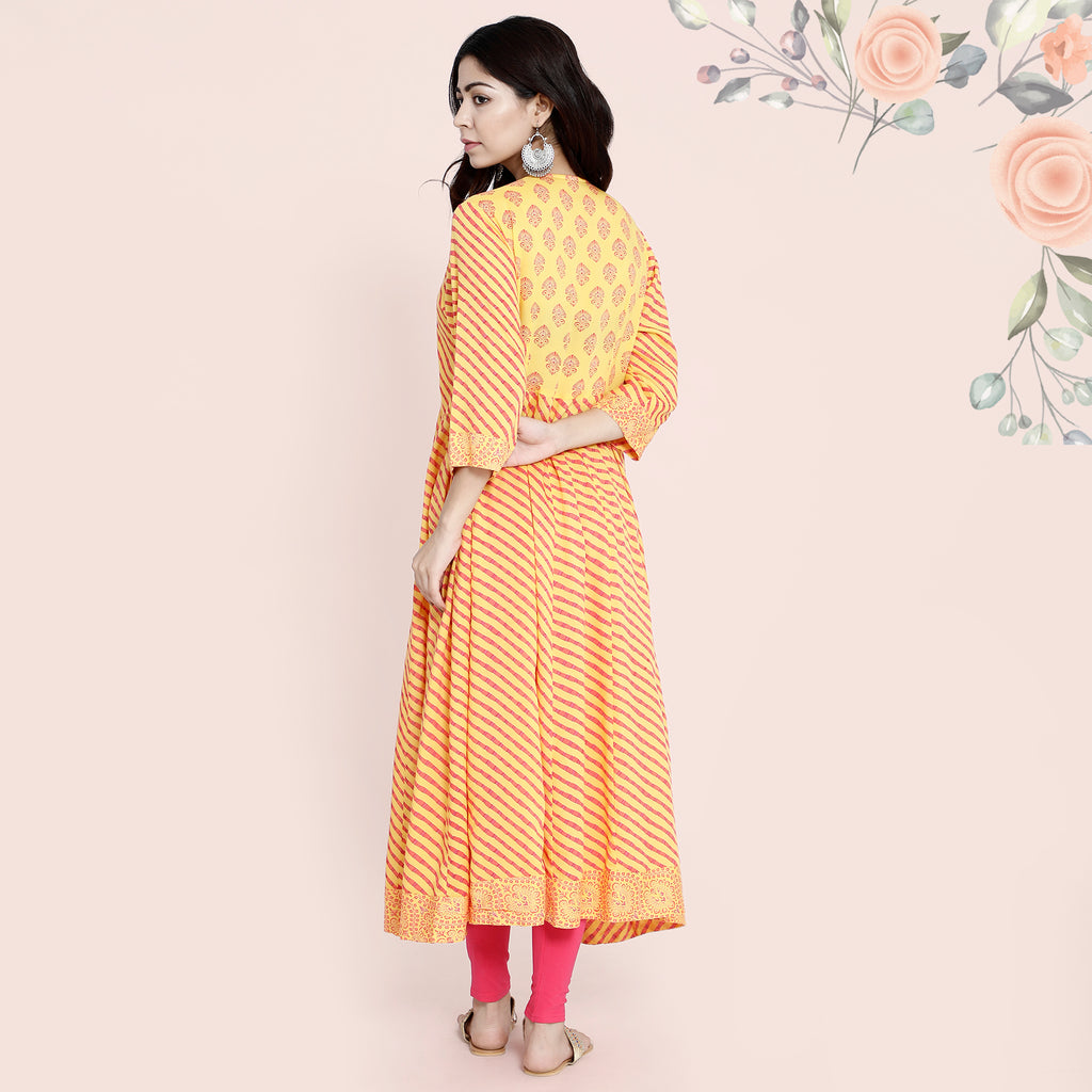 Cotton Anarkali Dori - Yellow & Orange Lehariya