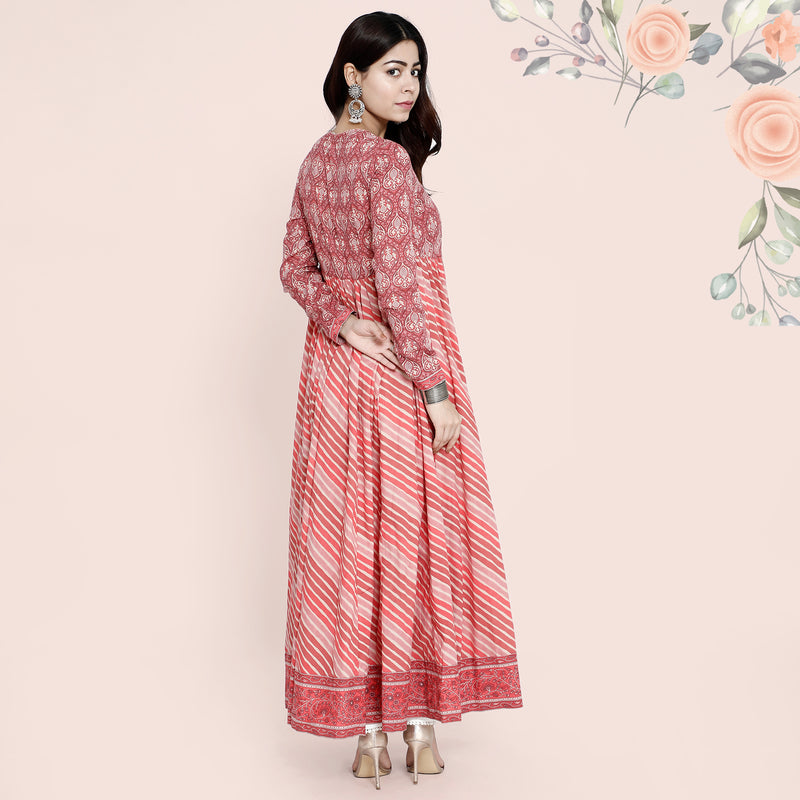 Cotton Angarkha Kurtis - Rustic Red Lehayria