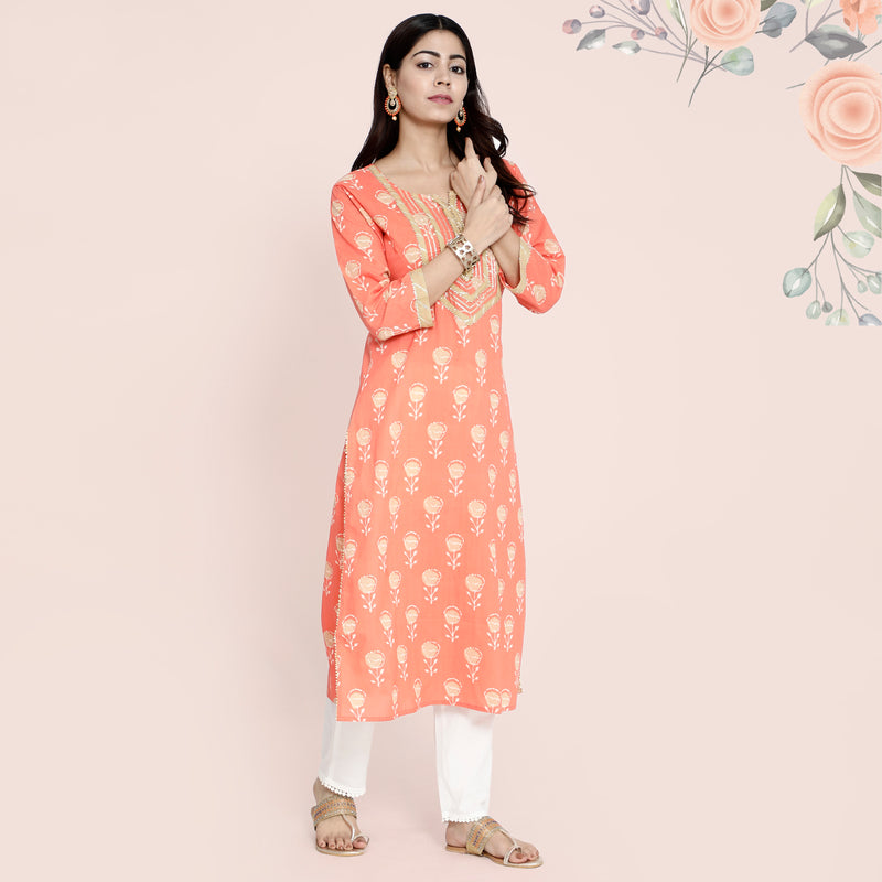 Cotton Kurtis - Bijiya Gota Patti Peach