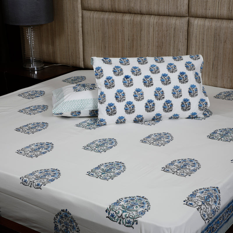 Hand Block Premium Cotton Bed Sheet - Blue & Grey Booti