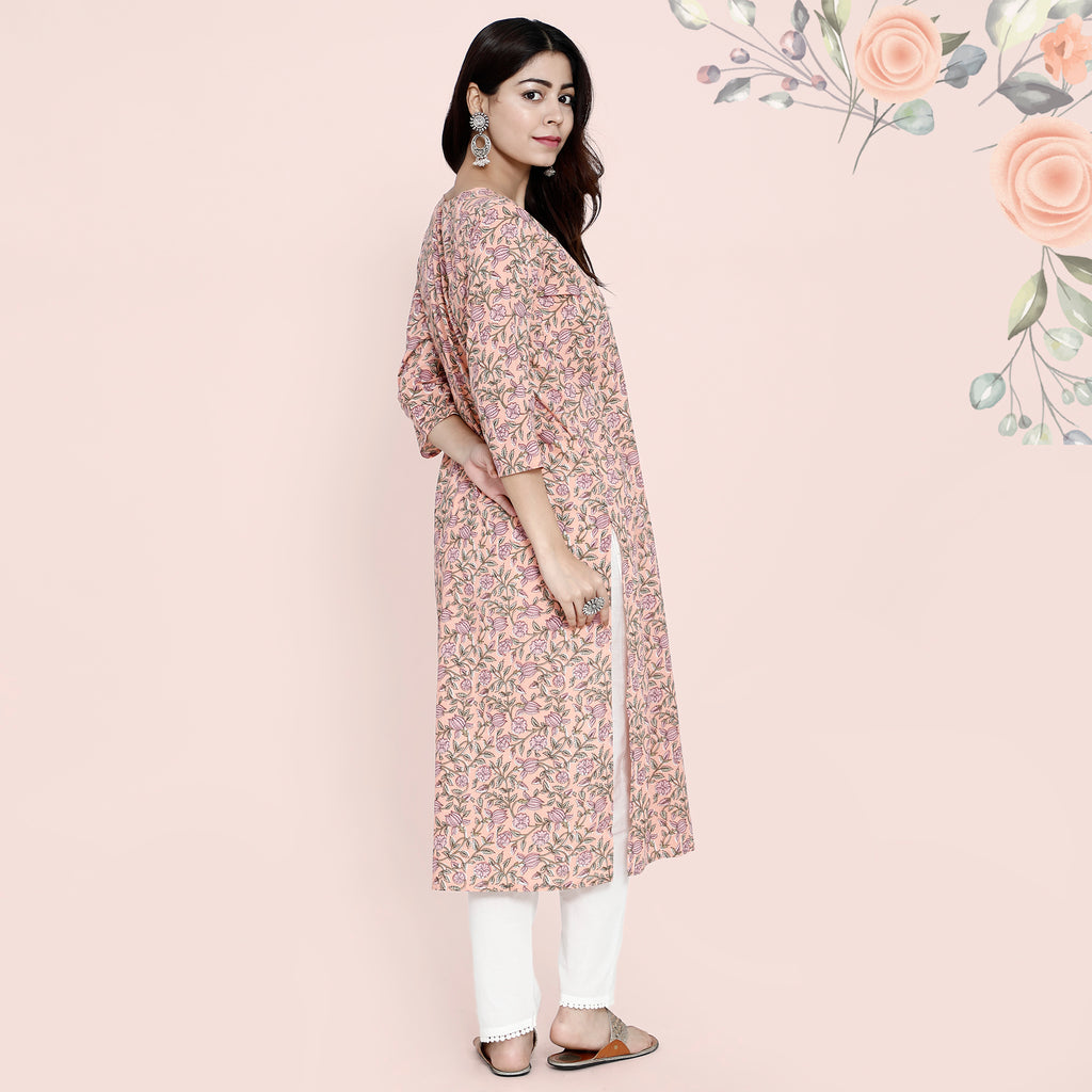 Cotton Kurtis - Pastel Peach