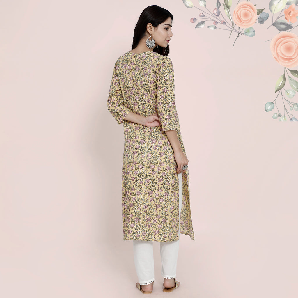 Cotton Kurtis - Pastel Yellow