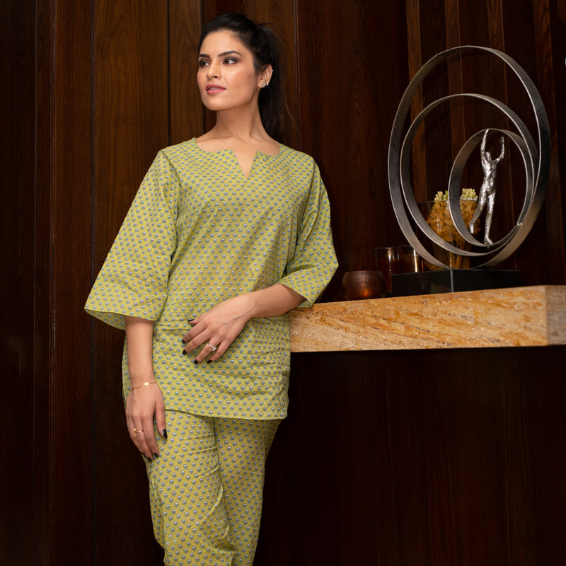 Premium Cotton Home Wear Set - Green