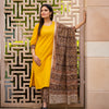 Kalamkari Cotton 3 Pc Suit - Yellow