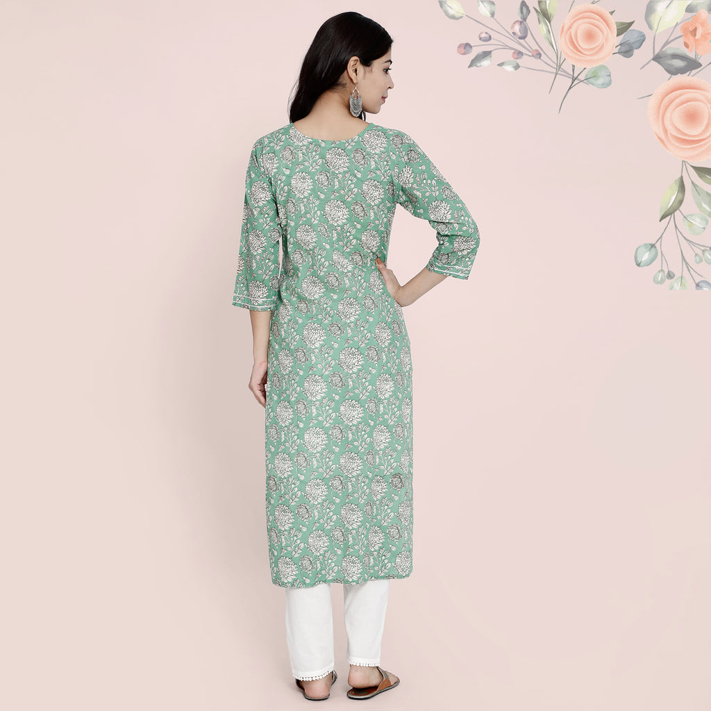 Cotton Kurtis - Green with Gota Stripes