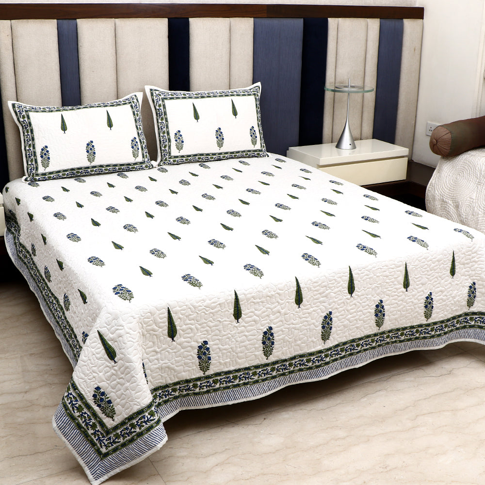 Cotton Premium Quilted Bed Cover - Green & Blue Pine with Flower Motif