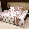 Cotton Premium Quilted Bed Cover - Orange & Pink Flower Motif