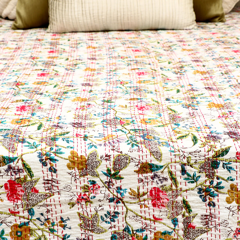 Cotton Kantha Work Bed Cover - White Floral Pattern