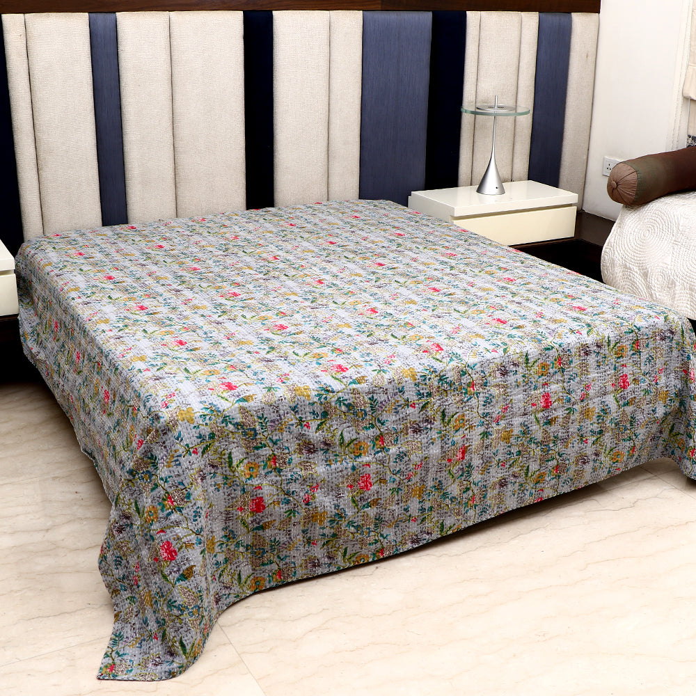 Cotton Kantha Work Bed Cover - Grey Floral Pattern