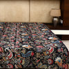 Cotton Kantha Work Bed Cover - Black Floral Pattern