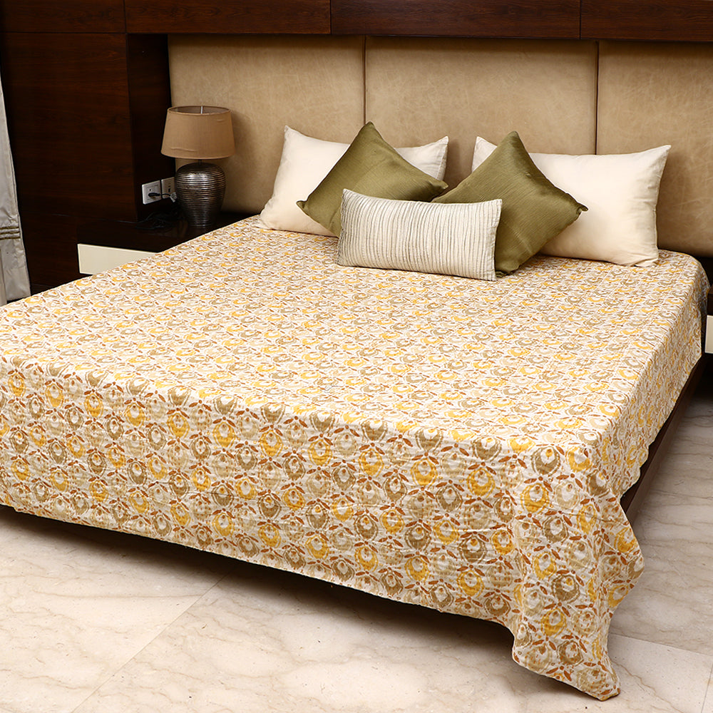 Cotton Kantha Work Bed Cover - Yellow & Brown Motif