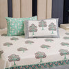 Cotton Bed Sheet - Hand Block Sea Green Tree Motif