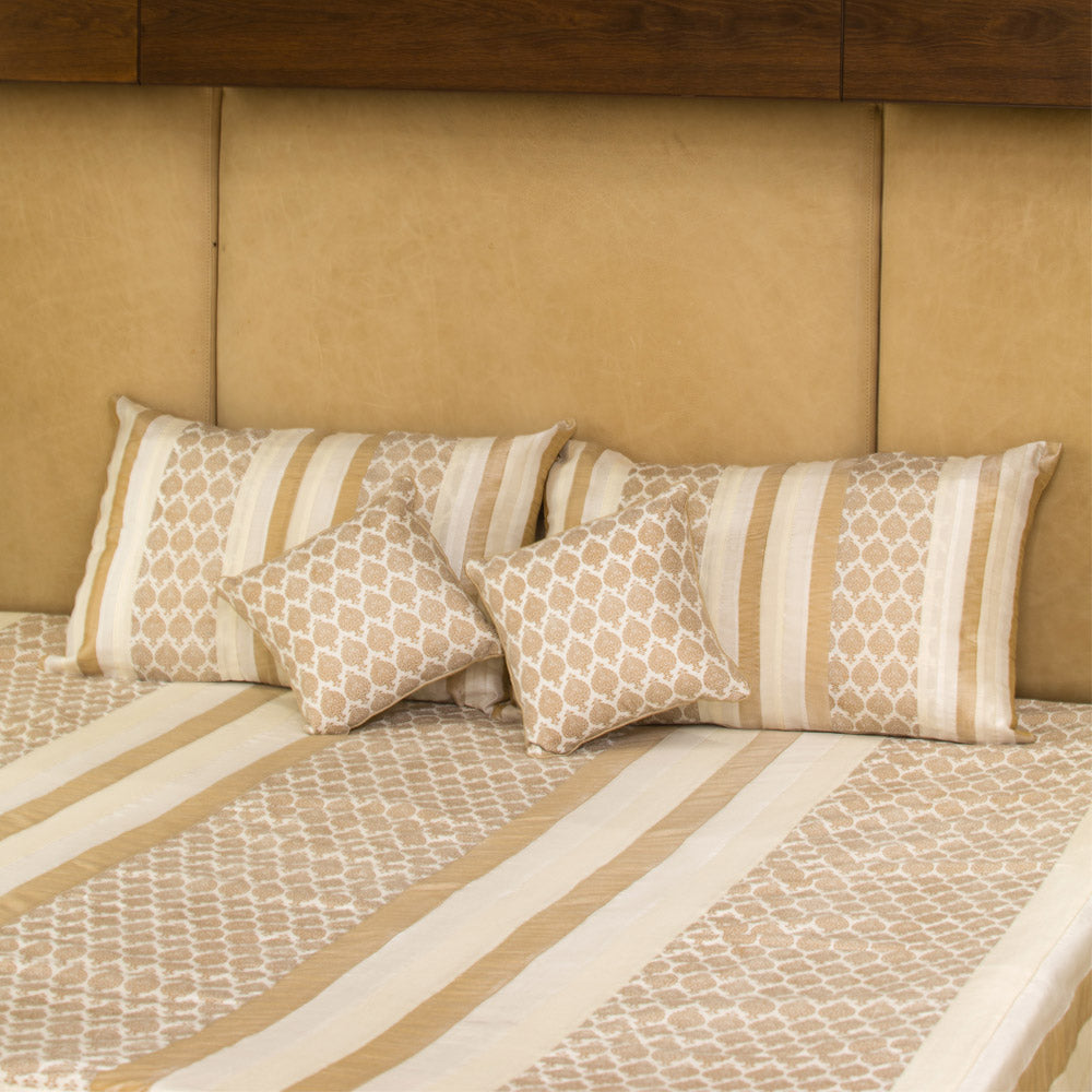 5 Pc Bed Cover Set - Silk with Brocade Ivory Motif