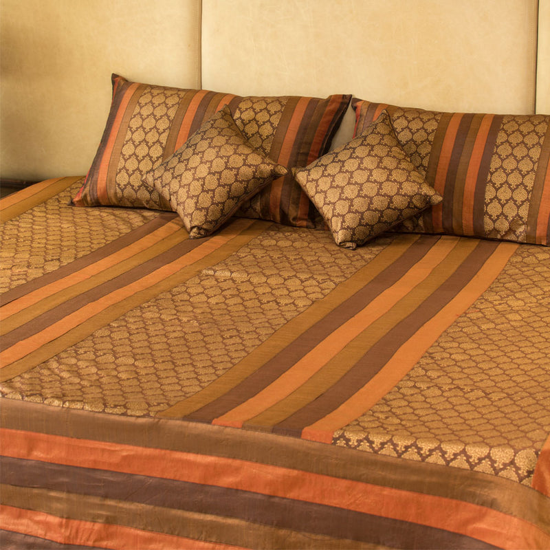 5 Pc Bed Cover Set - Silk with Brocade Coffee Brown Motif