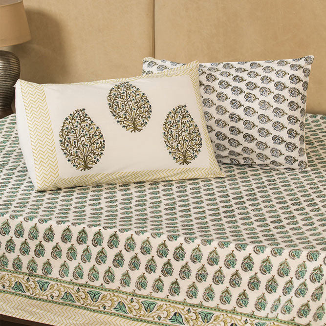 Cotton Bed Sheet - Hand Block Green & Olive Shell Flower Motif