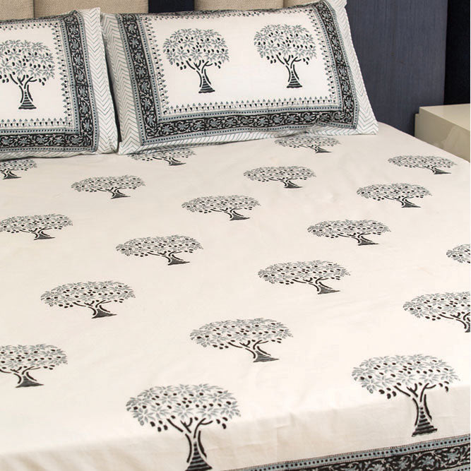 Cotton Bed Sheet - Hand Block Black & White Mango Tree Motif