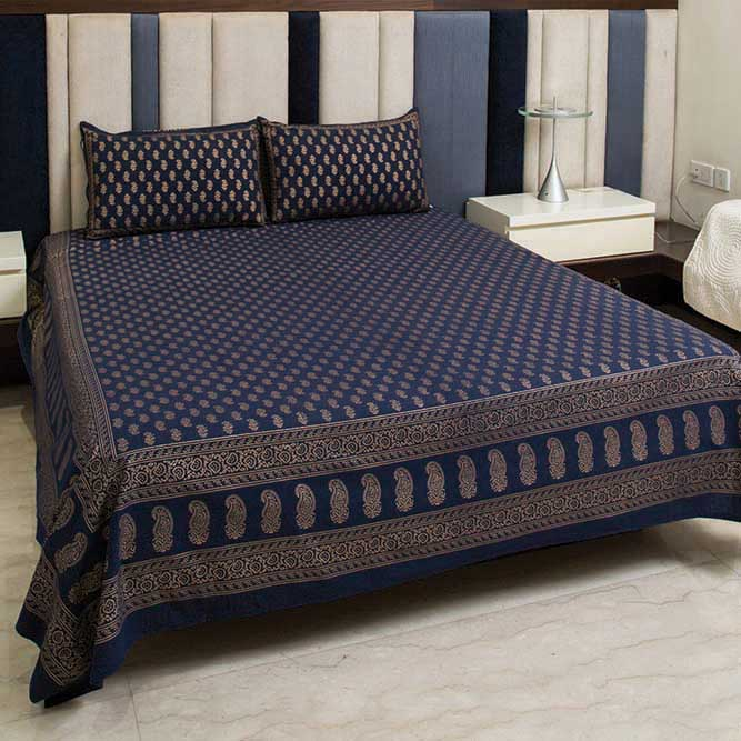 Cotton Bed Sheet - Mughal Gold Blue Gold Small Motifs