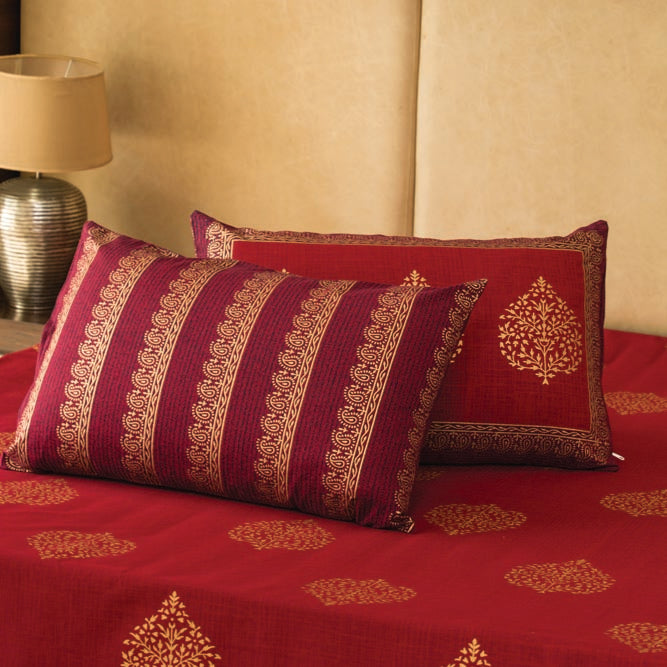 Cotton Bed Sheet - Mughal Gold Red Gold Motif