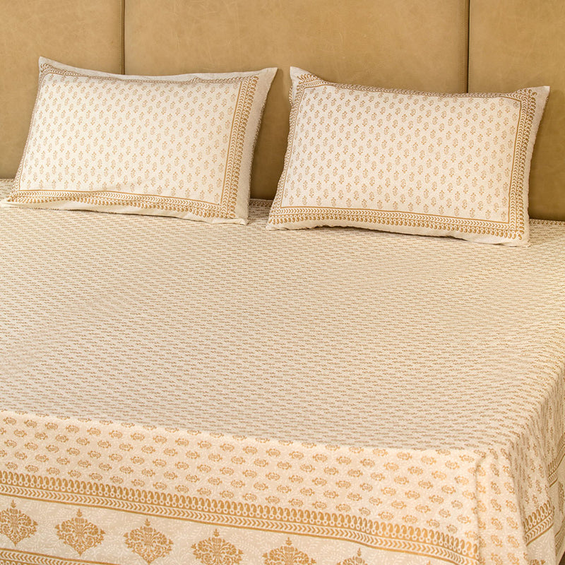 Cotton Bed Sheet - Mughal Gold White Gold Small Motifs