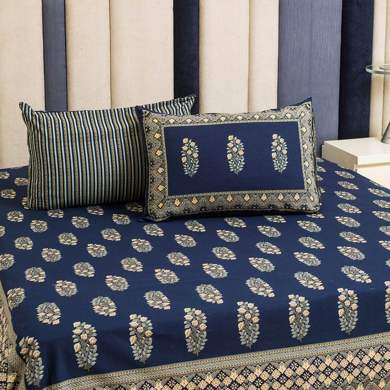 Cotton Bed Sheet - Mughal Premium Blue with Jaal Border