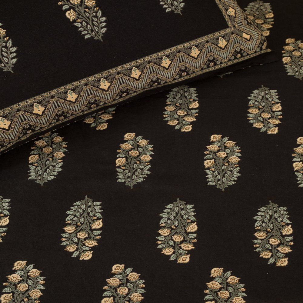 Cotton Bed Sheet - Mughal Premium Black with Jaal Border