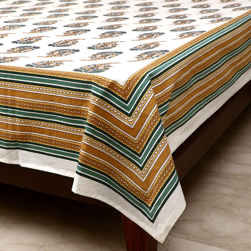 Cotton Bed Sheet - Mughal Premium White Ambi Motif with Mustard Striped Border