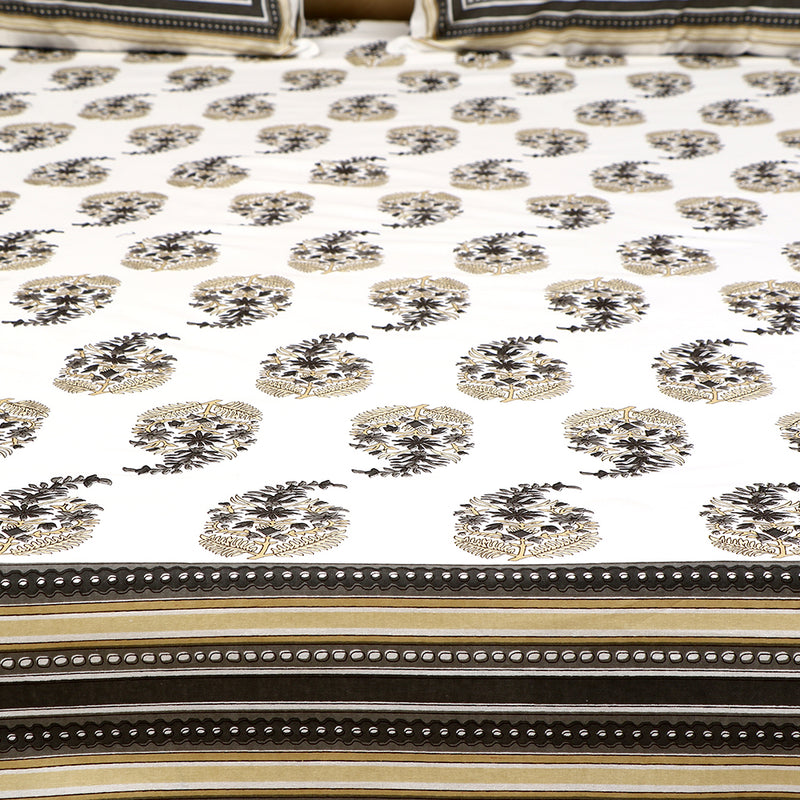 Cotton Bed Sheet - Mughal Premium White Ambi Motif with Charcoal Striped Border
