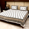 Cotton Bed Sheet - Mughal Premium White Ambi Motif with Mustard Jaal Border