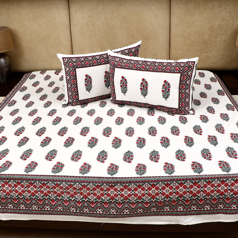 Cotton Bed Sheet - Mughal Premium White Ambi Motif with Pink Jaal Border