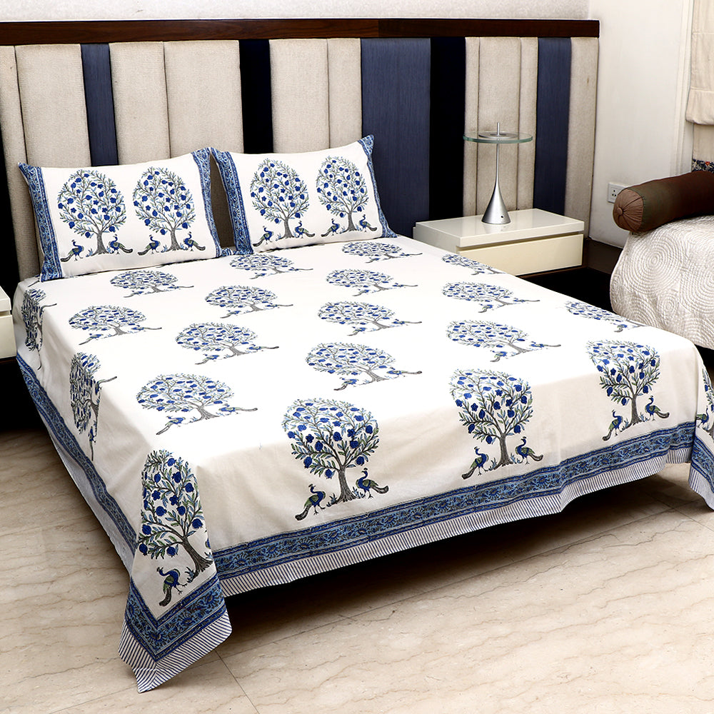 Cotton Bed Sheet - Peacock Series White with Blue Border